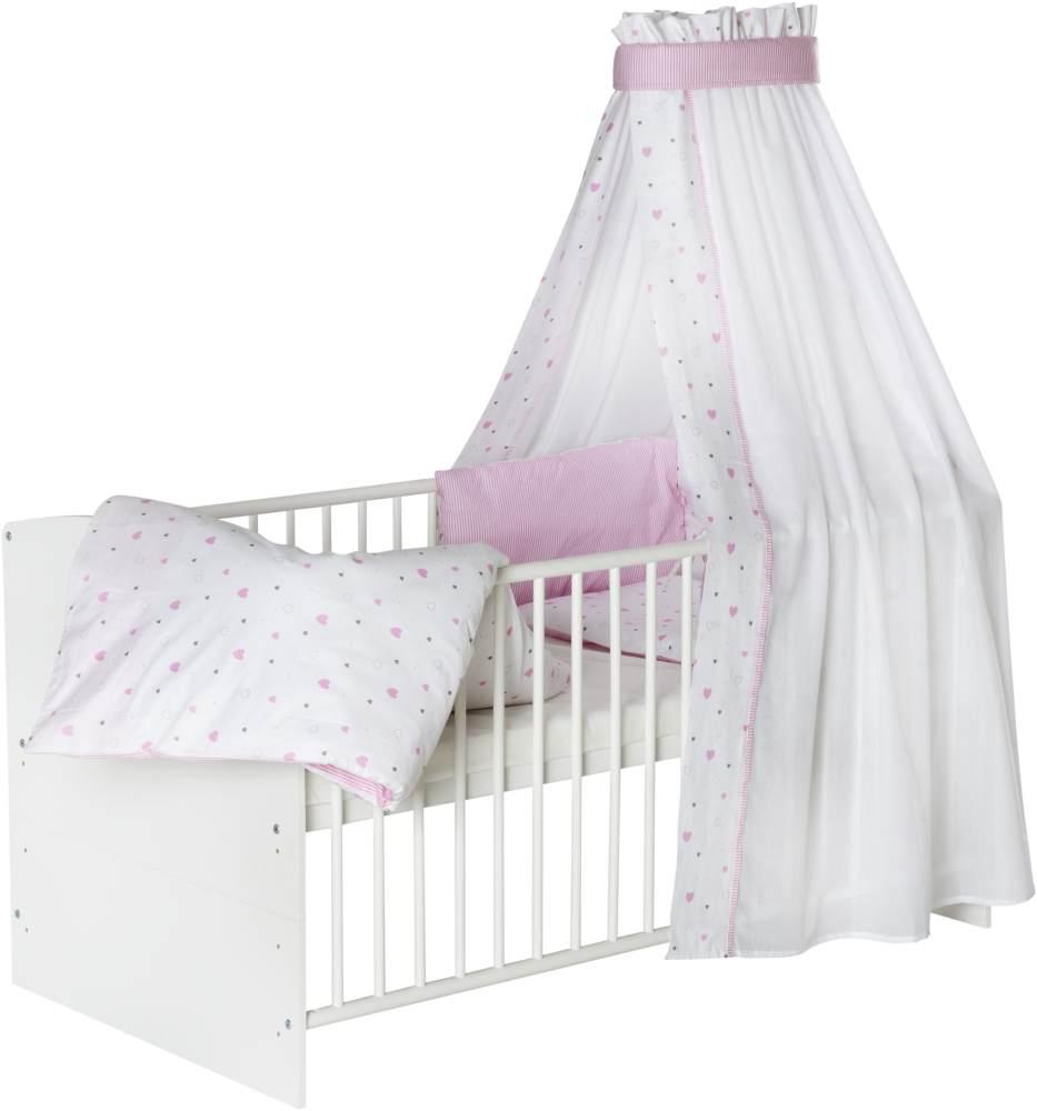 Schardt 'Classic White' Kombi-Kinderbett weiß. inkl. Ausstattung 'Herzchen' rosa Bild 1