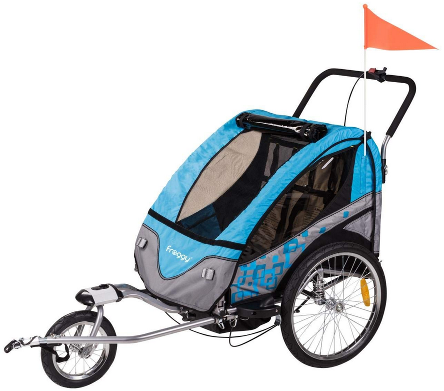 FROGGY Kinder Fahrradanhänger 360° Drehbar mit Federung + Joggerfunktion + 5-Punkt Sicherheitsgurt, 2in1 Anhänger für 1 bis 2 Kinder, Design Cyan Bild 1