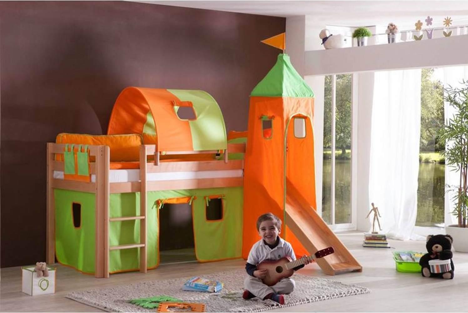 Relita Halbhochbett ALEX-13 mit Rutsche/Turm/Tunnel Buche massiv natur lackiert mit Stoffset grün/orange Bild 1