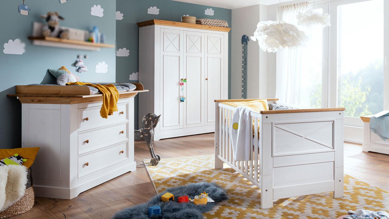 3-tlg. Babyzimmer-Set 'Galio' Kiefer massiv weiß eichefarbig Bild 1