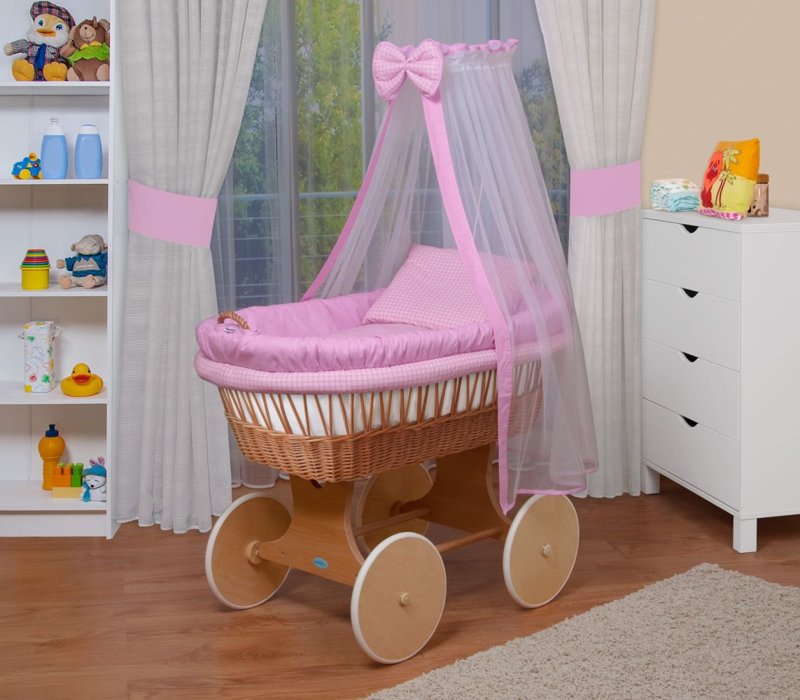WALDIN Baby Stubenwagen-Set mit Ausstattung, Gestell/Räder natur, Ausstattung rosa kariert Bild 1