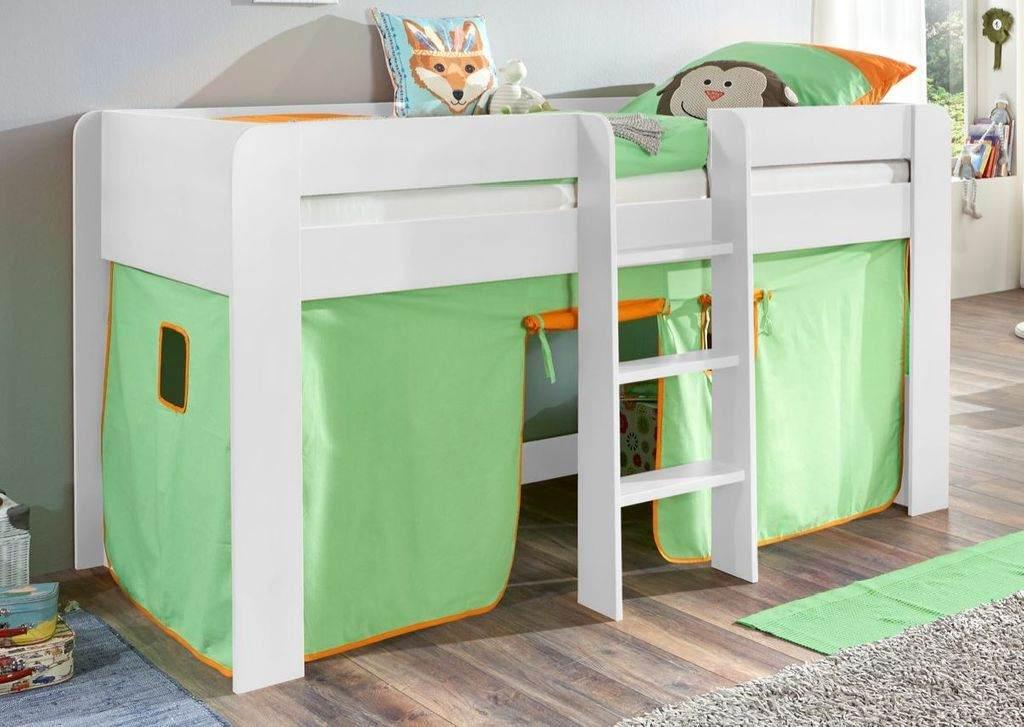 Relita 'Andi' Halbhochbett weiß, inkl. Matratze und Vorhang 'Grün/Orange' Bild 1