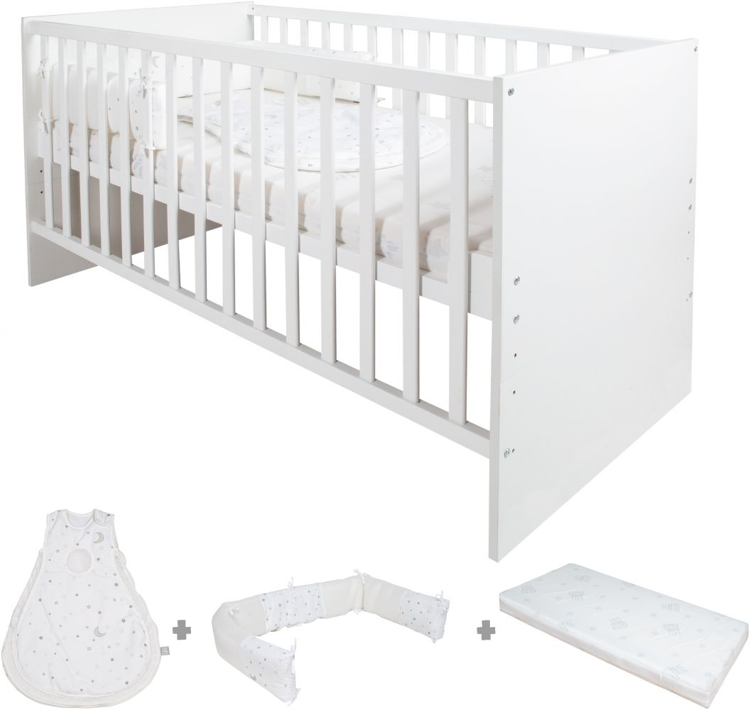 Roba 'Safe Asleep' Kombi Kinderbett weiß inkl. Bettset 'Sternenzauber' 70x140 cm Bild 1