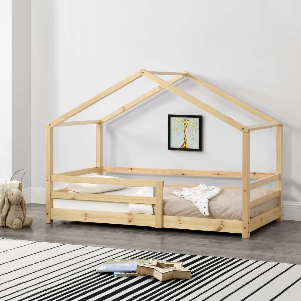 en.casa Hausbett 70x140 cm Natur, inkl. Lattenrost und Rausfallschutz Bild 1