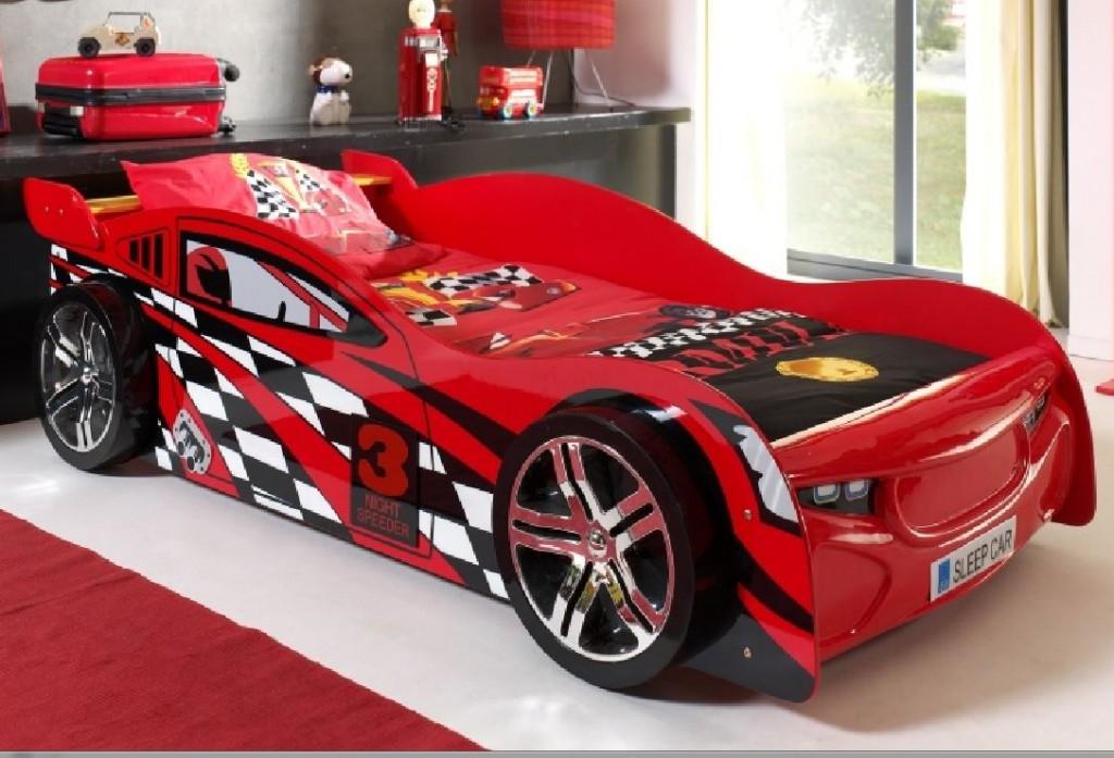 Night Speeder Autobett Kinderbett Spielbett Bett 90x200 cm Rot, inkl. Matratze Soft Bild 1