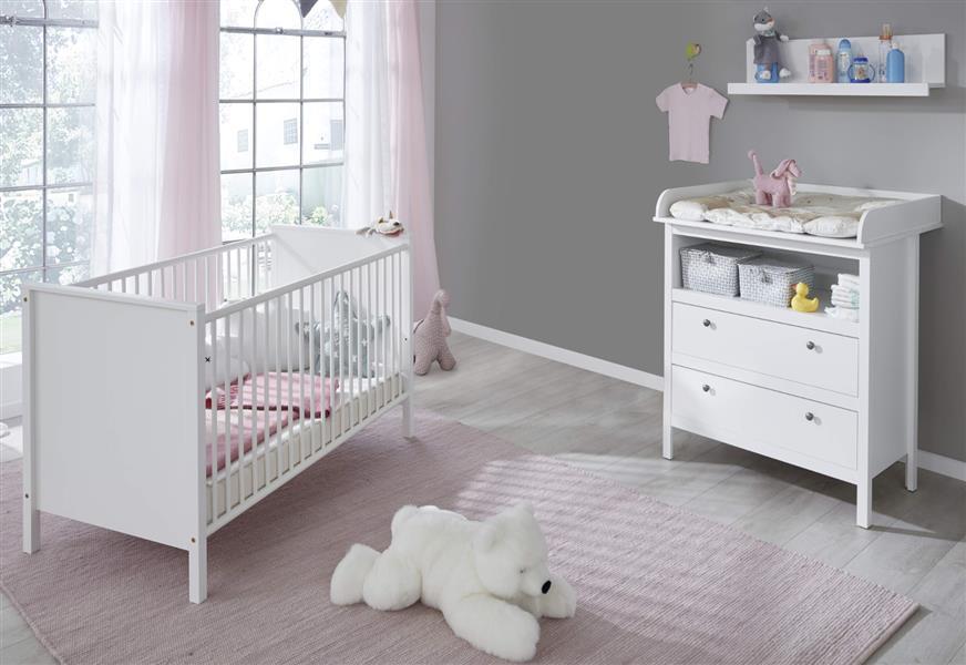 trendteam smart living Babyzimmer 3-teiliges Komplett Set in Weiß mit viel Stauraum und großzügiger Wickelfläche Bild 1
