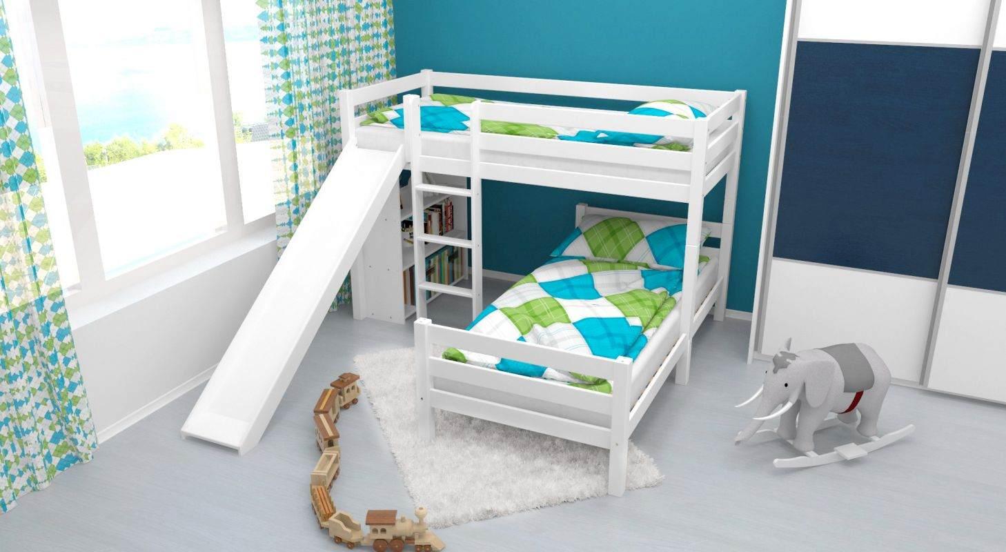 Etagenbett / Spielbett Phillip Buche massiv weiß lackiert mit Rutsche und Regal inkl. Rollrost Bild 1