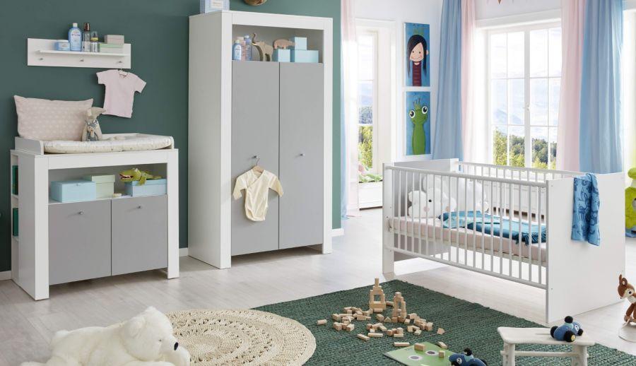 Babyzimmer Wilson weiß und grau komplett Set 4-teilig Bild 1