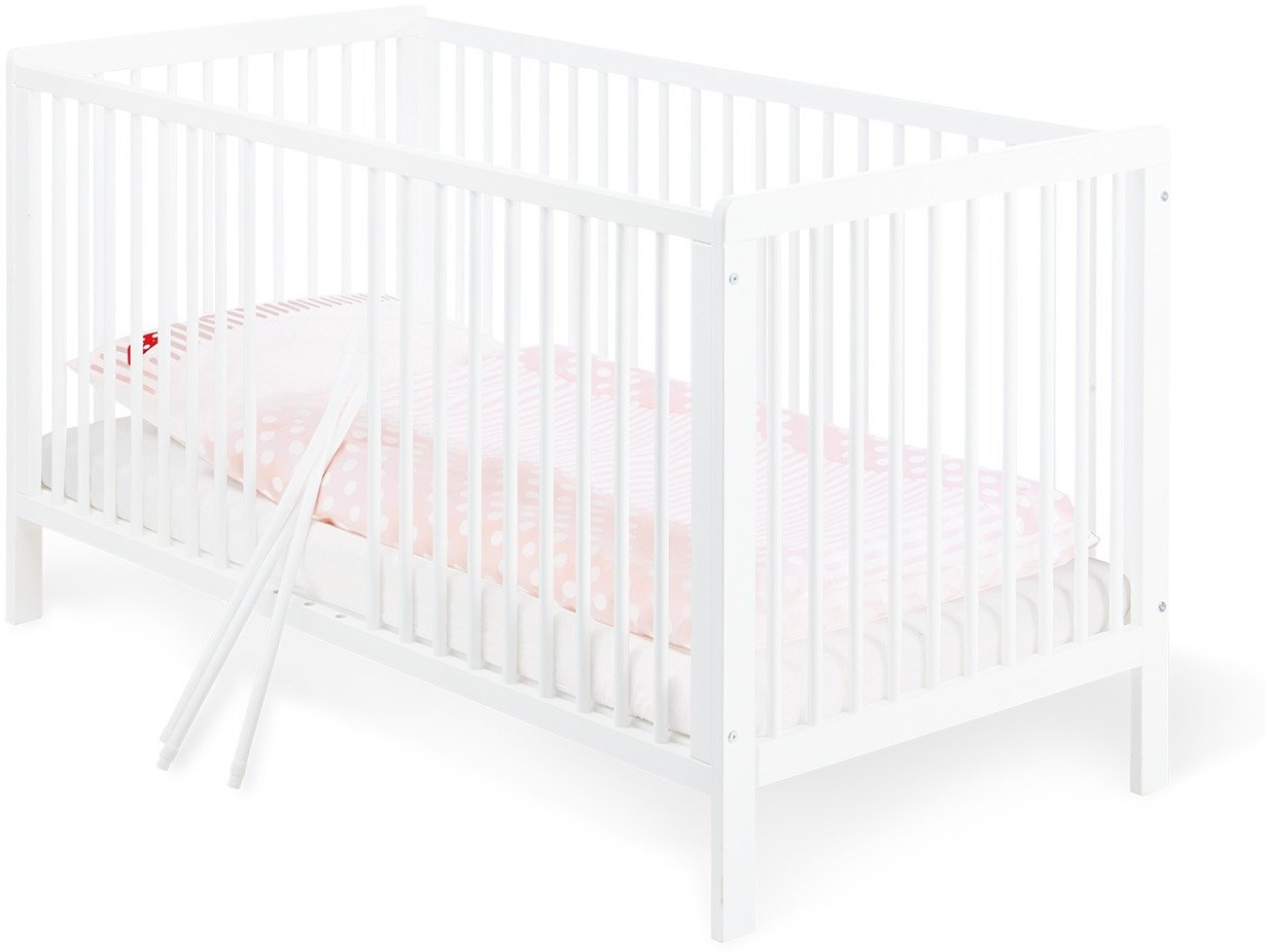 Pinolino 'Lenny' Kombi-Kinderbett weiß, 70 x 140 cm, Kiefer massiv, mit 3 Schlupfsprossen, Lattenrost höhenverstellbar Bild 1