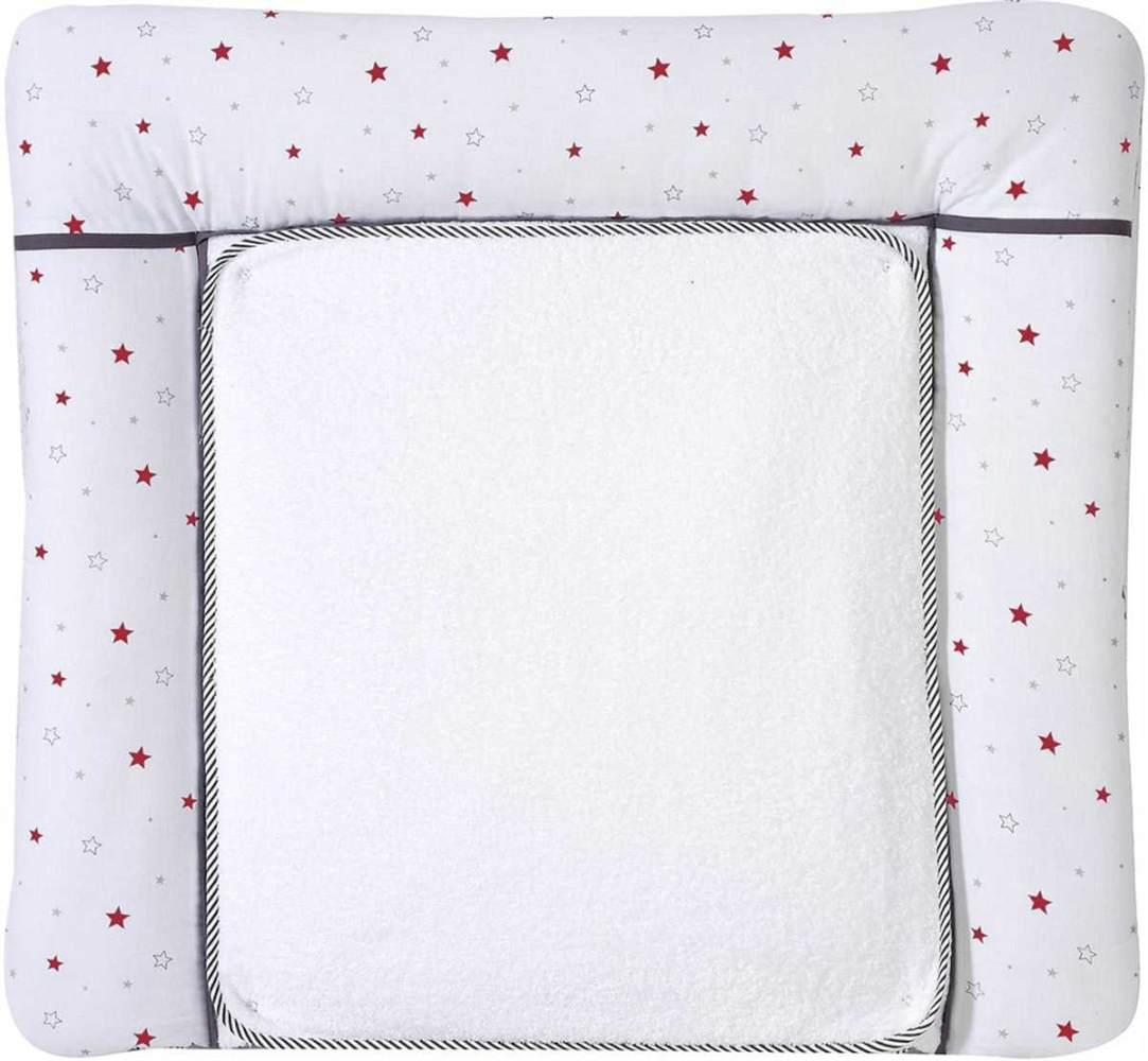 Schardt Wickelauflage mit abnehmbarer Frotteauflage, Sternchen rot 80 x 75 cm Bild 1