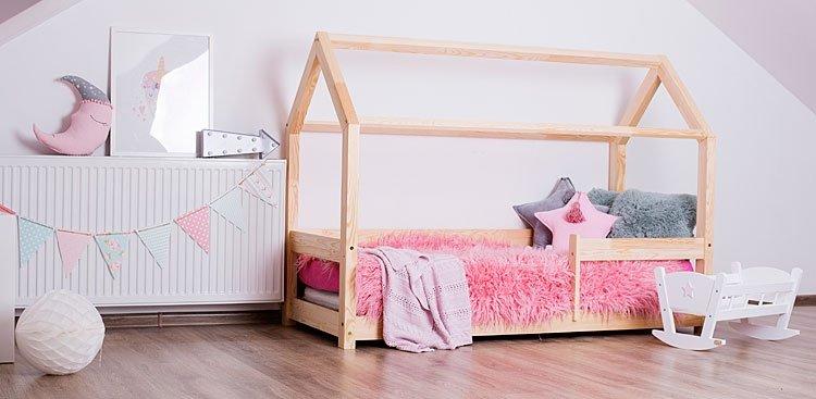 Best For Kids Hausbett mit Rausfallschutz 80x160 natur Bild 1