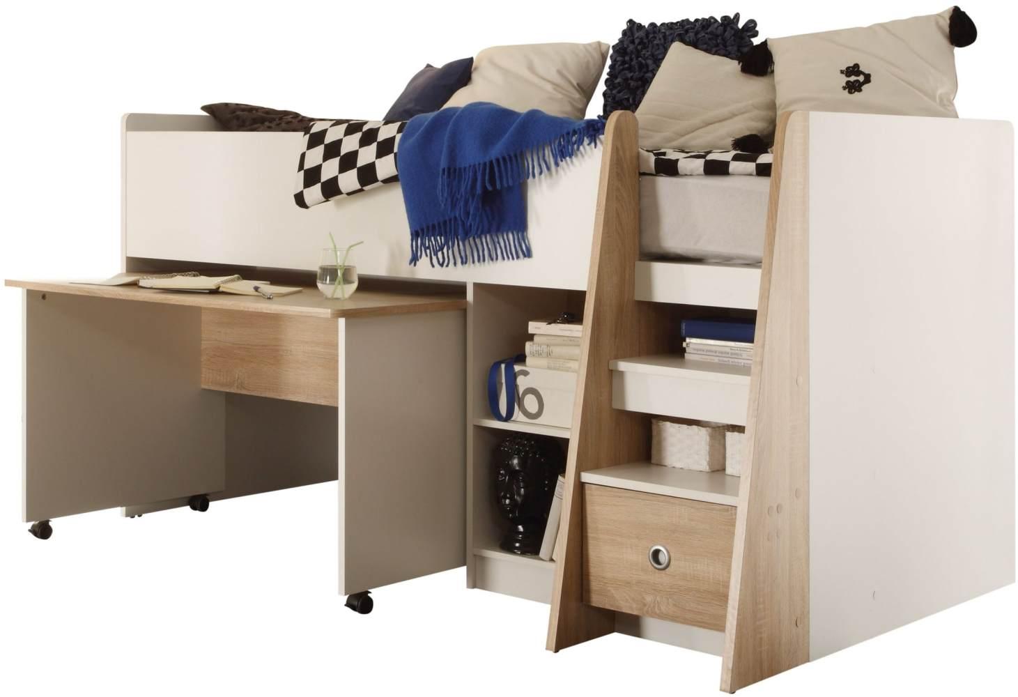 Bega 'Justin' Hochbett aus Eiche inkl. ausziehbaren Schreibtisch, Regal, Schubkasten, Lattenrostplatte, natur Bild 1