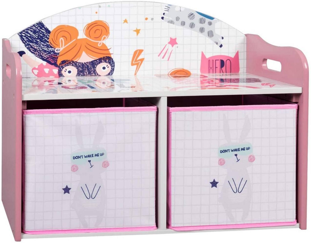 Kinderregal mit 2 Kisten aus MDF rosa Bild 1