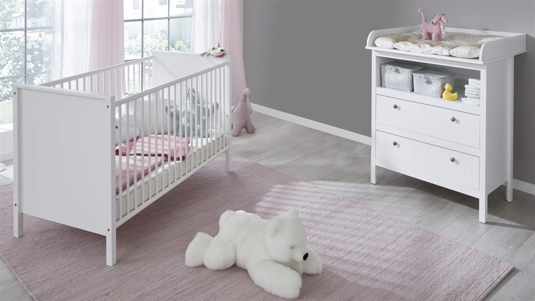 trendteam smart living Babyzimmer 2-teiliges Komplett Set in Weiß mit viel Stauraum und großzügiger Wickelfläche Bild 1