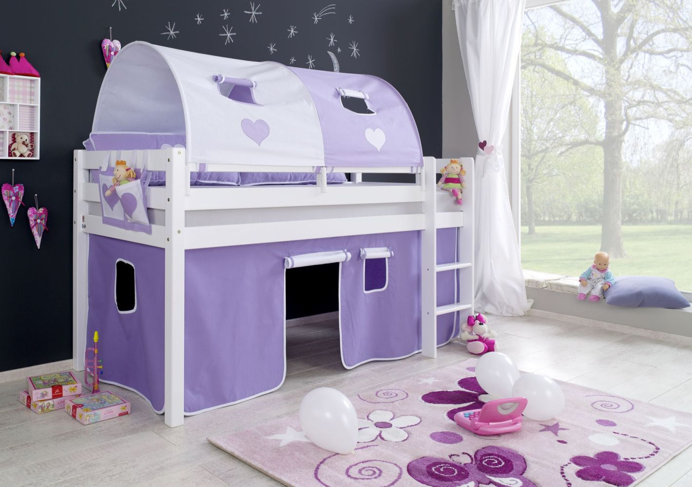 Relita Halbhohes Spielbett ALEX Buche massiv weiß lackiert mit Stoffset Vorhang, 2-er Tunnel und Tasche Bild 1
