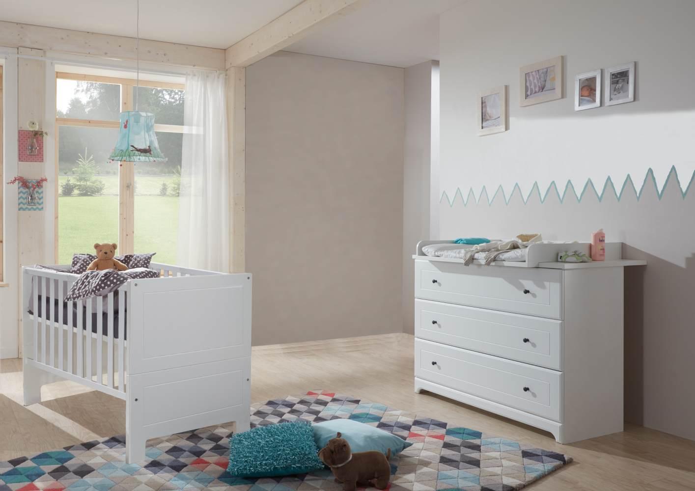 Arthur Berndt 'Thilo' Babyzimmer Sparset 2-teilig, Kinderbett (70 x 140 cm) und Wickelkommode mit Wickelaufsatz MDF Weiß Bild 1