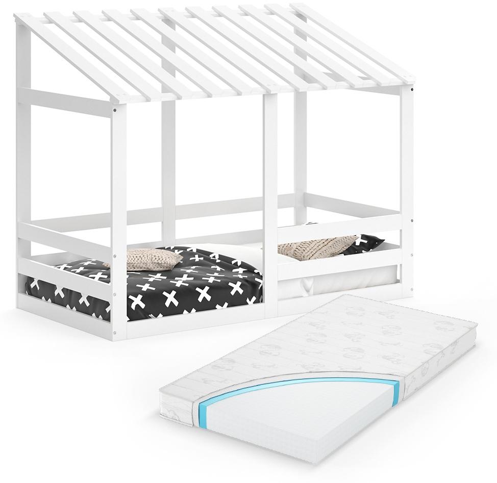 VitaliSpa 'Silvia' Hausbett, Weiß, 80x160cm, Massivholz Buche, inkl. Matratze, Lattenrost und Rausfallschutz Bild 1