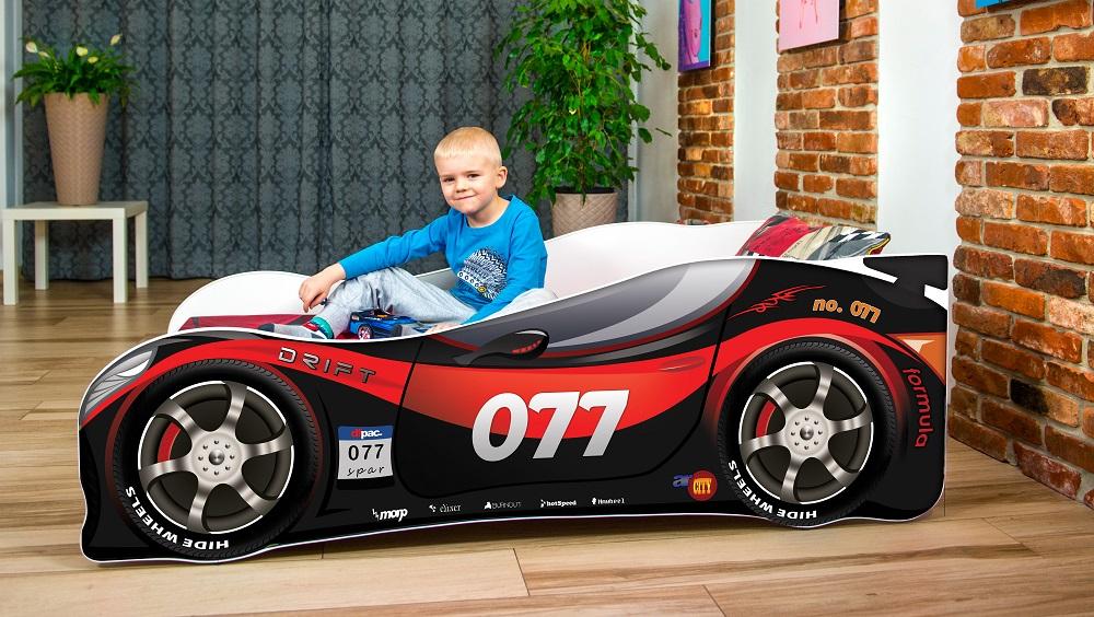 Lux4Kids 'Delfin' Autobett 70x140 cm, 77 Red Black, mit Matratze und Lattenrost Bild 1