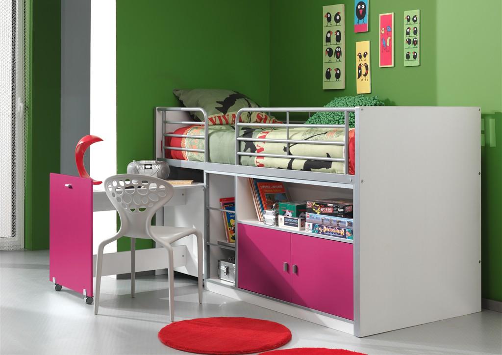 Kinderbett Jugendbett Bonny 90 x 200 cm Weiß / Lila, inkl. Matratze Basic Bild 1