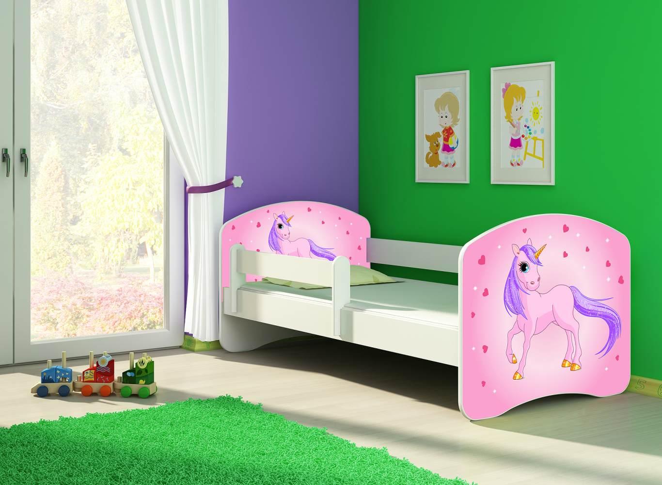 Clamaro 'Fantasia' Kinderbett 'Pony Pink' 80x 160 cm inkl. Bettkasten, Rausfallschutz, Matratze und Lattenrost Bild 1