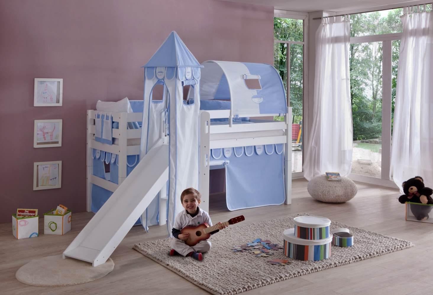 Relita 'Eliyas' Spielbett mit Rutsche und Textilset Vorhang, 1-er Tunnel, Turm und Tasche blau/Boy Bild 1