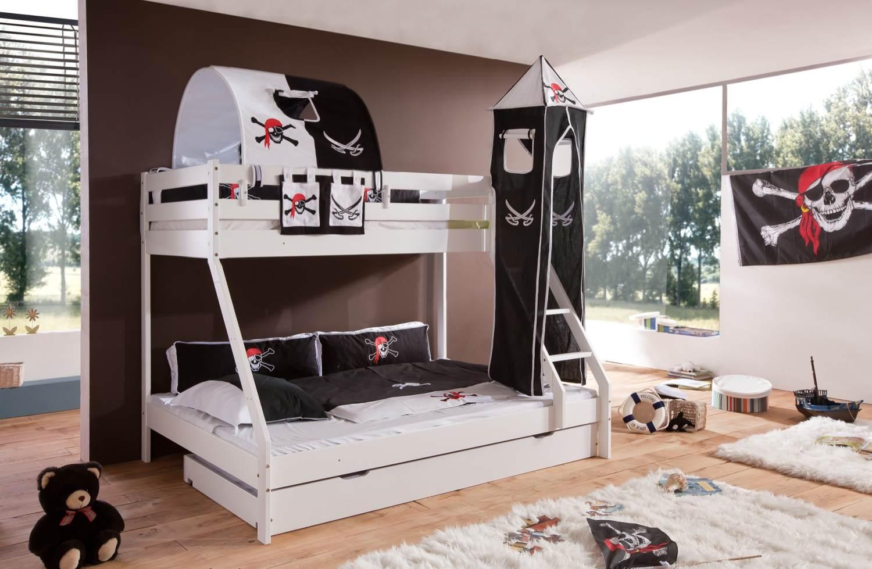 Relita 'MIKE' Etagenbett weiß lackiert, inkl. Bettschublade und Textilset 'Pirat' Bild 1