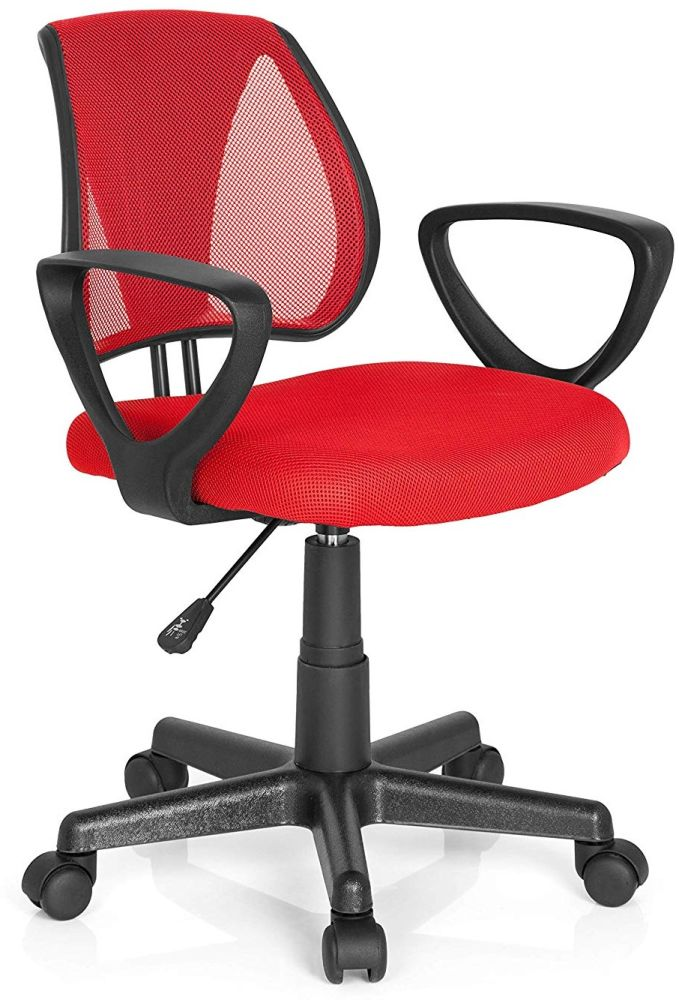 hjh OFFICE 725103 Kinder- und Jugenddrehstuhl KIDDY CD Netzstoff Rot höhenverstellbarer Schreibtischstuhl mit Armlehnen Bild 1