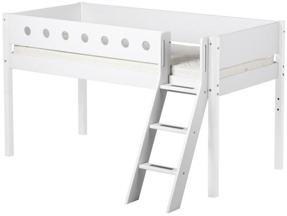 Flexa 'White' Halbhochbett weiß, schräge Leiter, 90x190cm Bild 1