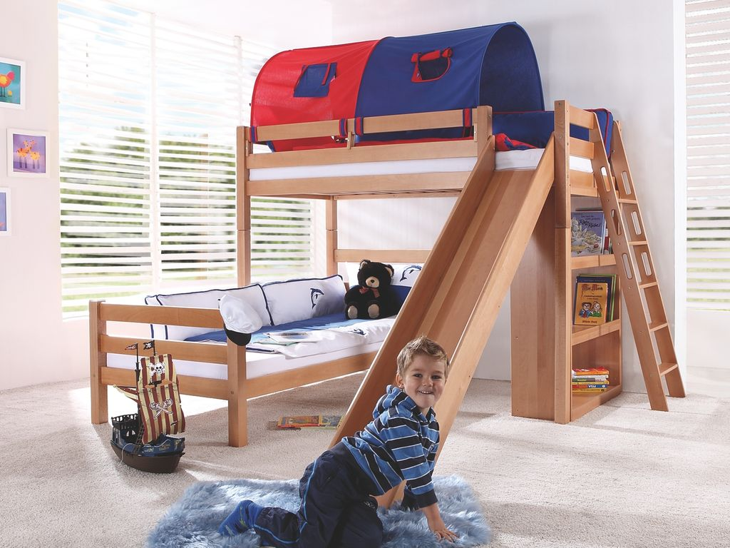 Relita 'SKY' Etagenbett mit Rutsche natur, inkl. Stoffset Blau/Rot mit zwei Matratzen Bild 1