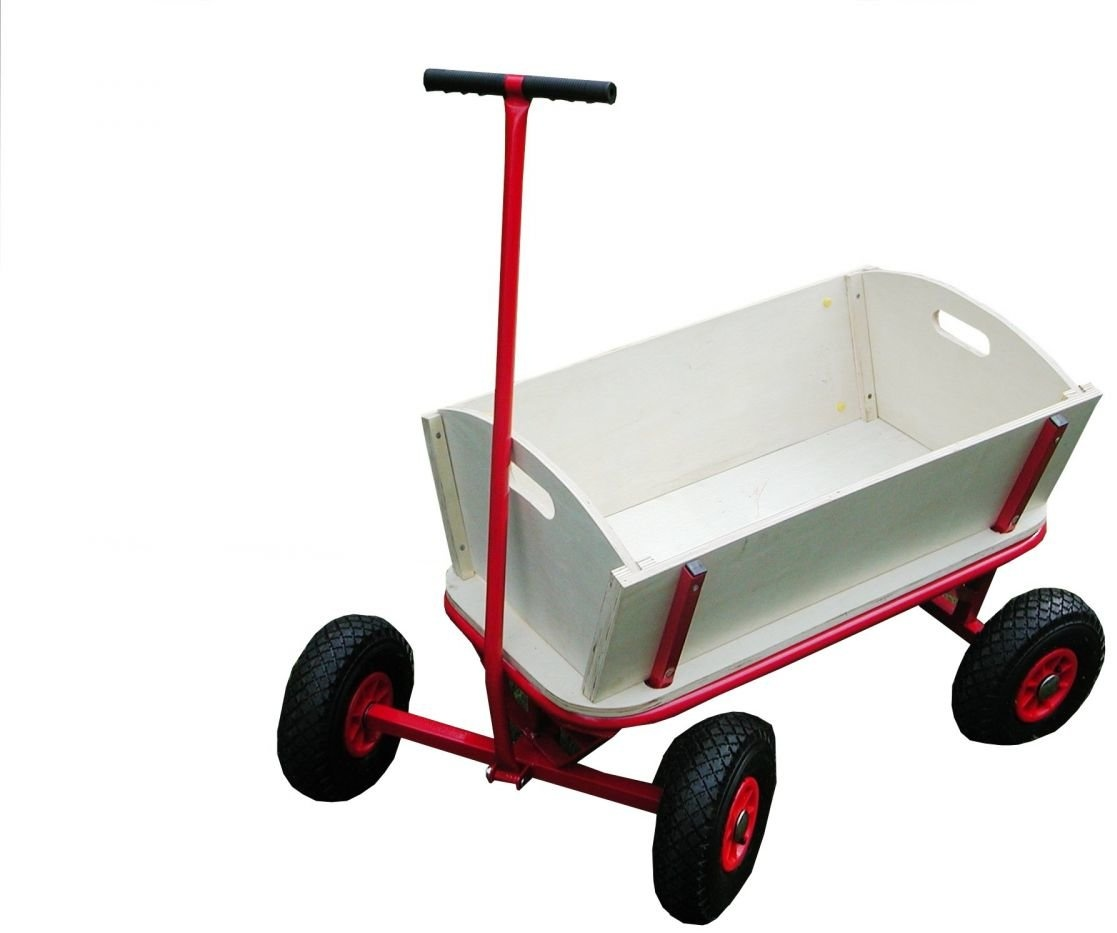 Bollerwagen aus Holz mit Luftreifen, Handwagen, Transportwagen Bild 1