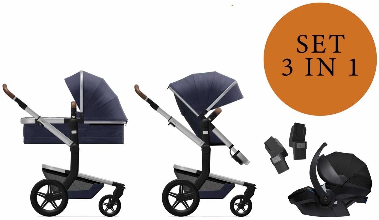 Joolz 'Day+' Kombikinderwangen 3in1 2020 in Classic Blue, inkl. Joolz Babyschale in Schwarz Bild 1