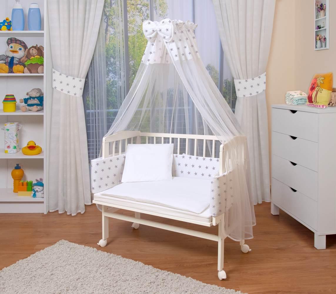 WALDIN Beistellbett mit Matratze und Nestchen, höhenverstellbar, Ausstattung weiß/Sterne-grau, Gestell Weiß lackiert Bild 1