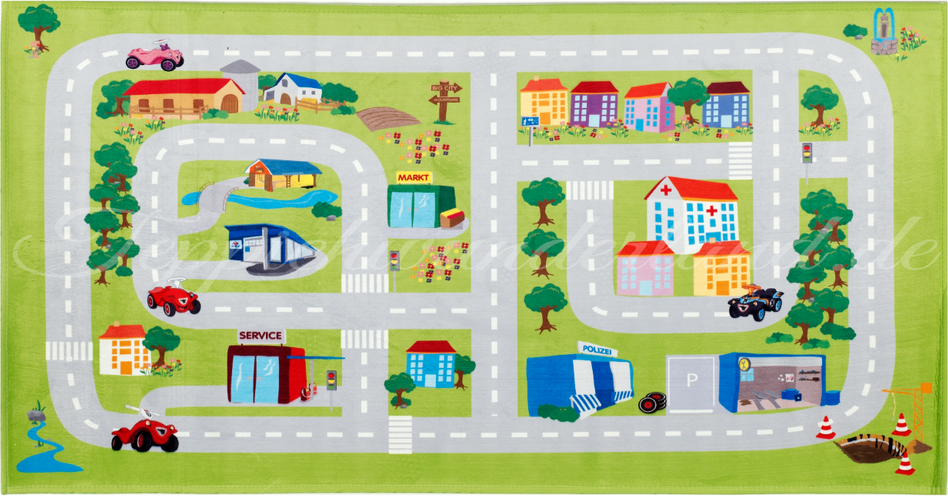 Böing Carpet 'Big Bobby Car - Play' Kinderteppich grün, 80x150 cm Bild 1