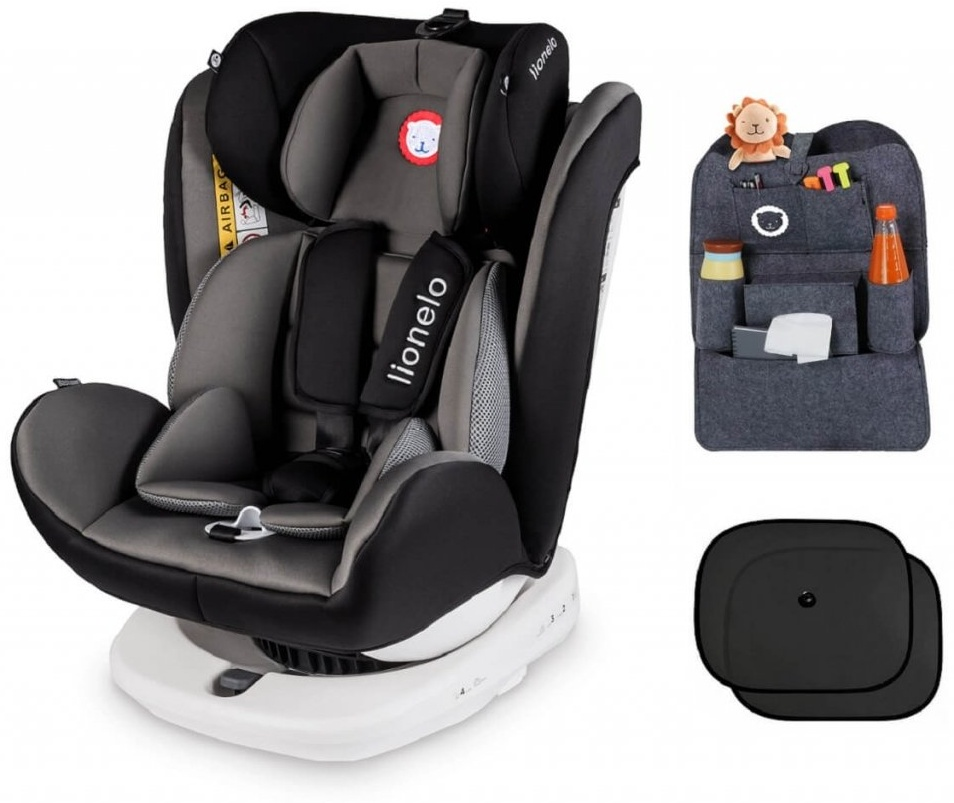 lionelo Bastiaan grau + ORGANIZER + Sonnenschutz Auto Kindersitz mit Isofix Baby Autositz Bild 1