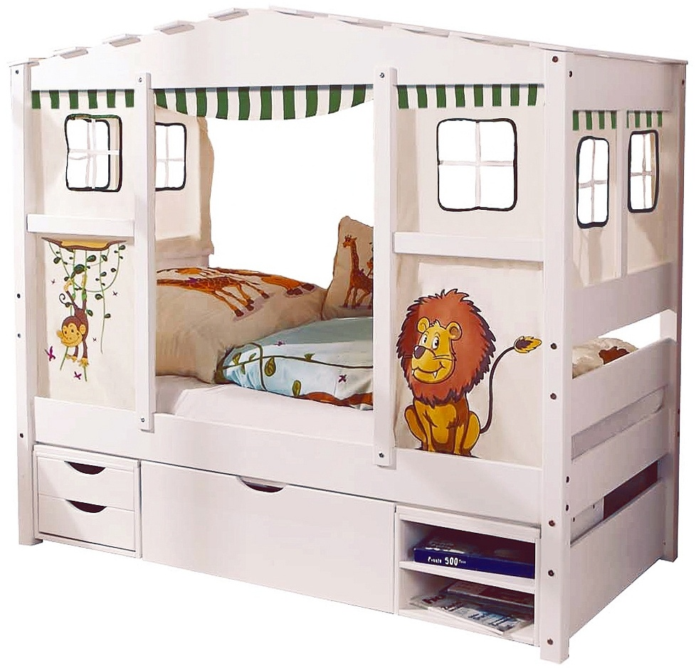 Ticaa 'Safari' Hausbett Mini weiß inkl. Bettkasten 'Marlies' Bild 1