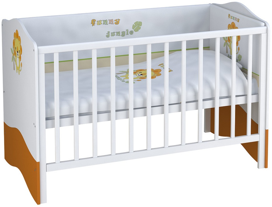 Polini Kids Kombi-Kinderbett 'Basic Jungle' weiß / orange Bild 1
