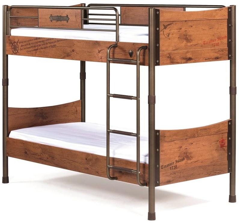 Cilek PIRATE Etagenbett Stockbett Hochbett Bett Kinderzimmer Braun mit 2x Matratze Bild 1