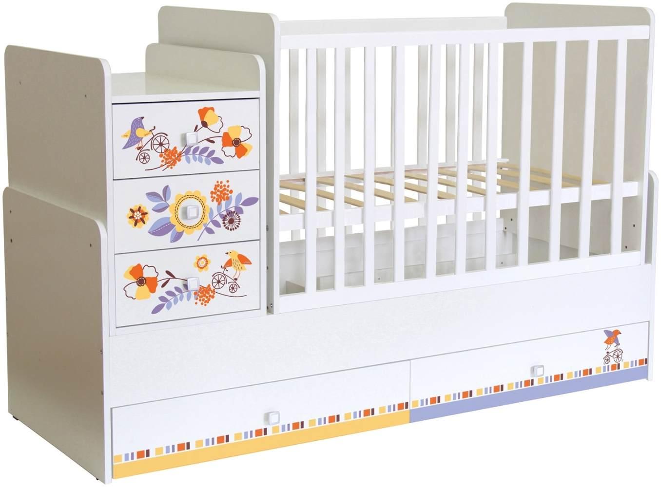 Polini Kids 'Simple 1100' Kombi-Kinderbett 60 x 120/170 cm, weiß, Floral, höhenverstellbar, mit Schaukelfunktion, inkl. Kommode Bild 1