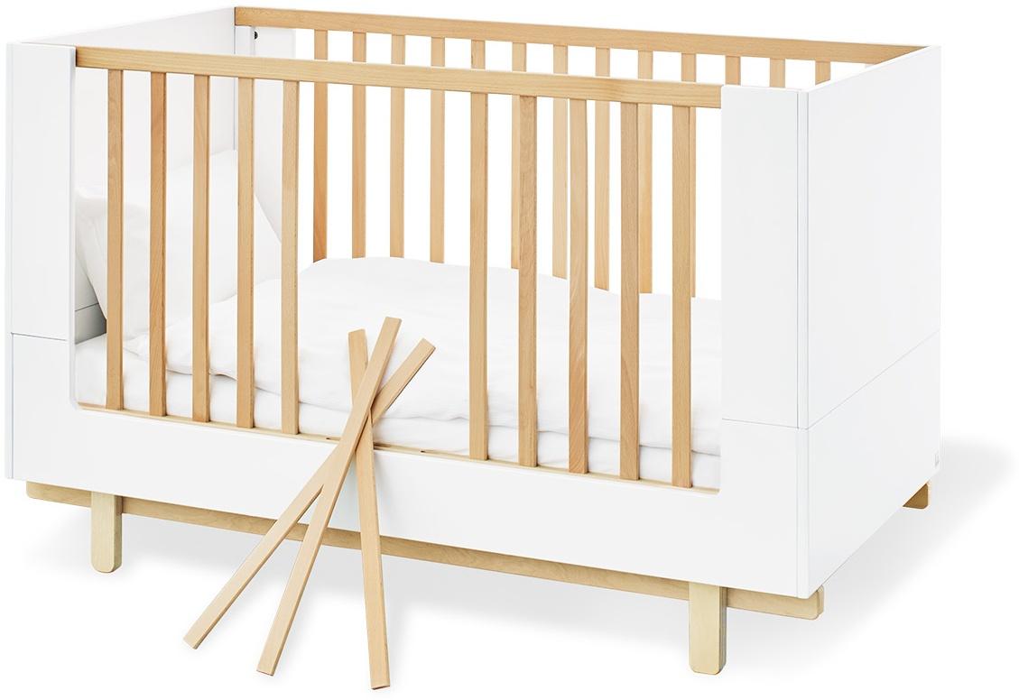 Pinolino 'Boks' Kombi-Kinderbett 70x130 cm, weiß/natur, 3-fach höhenverstellbar, Schlupfsprossen Bild 1