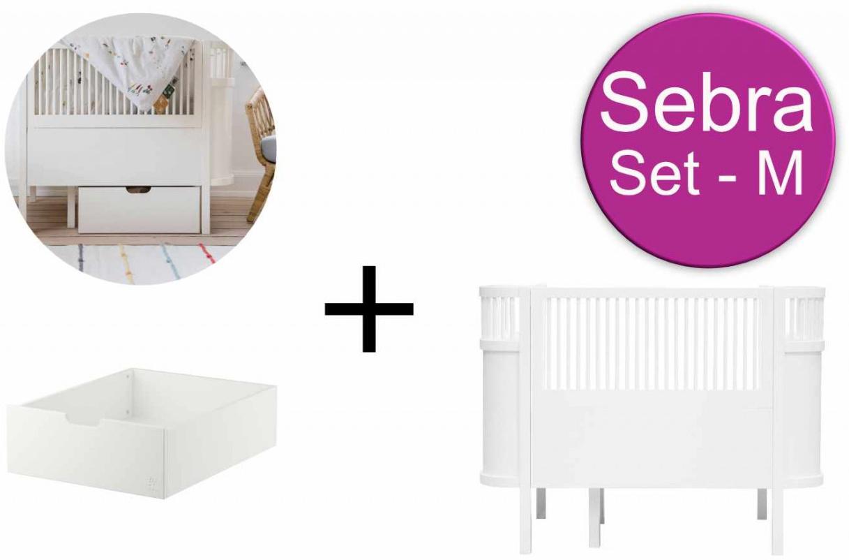 Sebra Baby & Juniorbett mit Schublade Set-M Weiss Bild 1