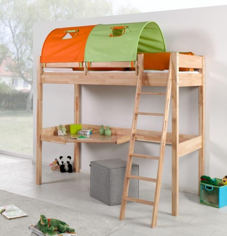Relita 'RENATE' Multifunktionsbett mit Schreibtisch Buche, Stoffset Grün/Orange inkl. Matratze Bild 1
