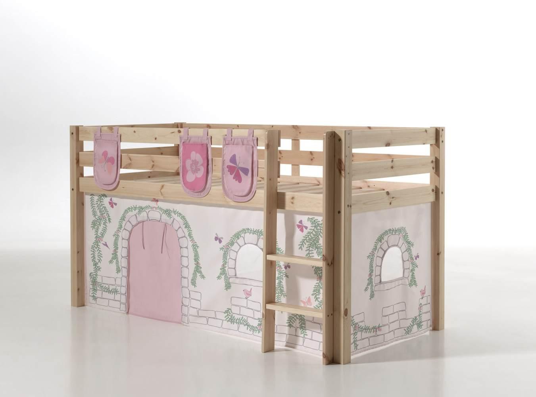 Vipack 'Pino' Spielbett natur mit Vorhang und 3 Taschen 'Birdy' Bild 1