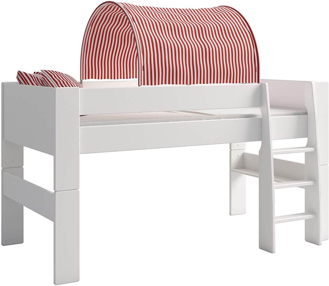 Steens For Kids Tunnelzelt für Kinderbett, Hochbett, 88 x 69 x 91 cm (B/H/T), Baumwolle, rot,weiß Bild 1