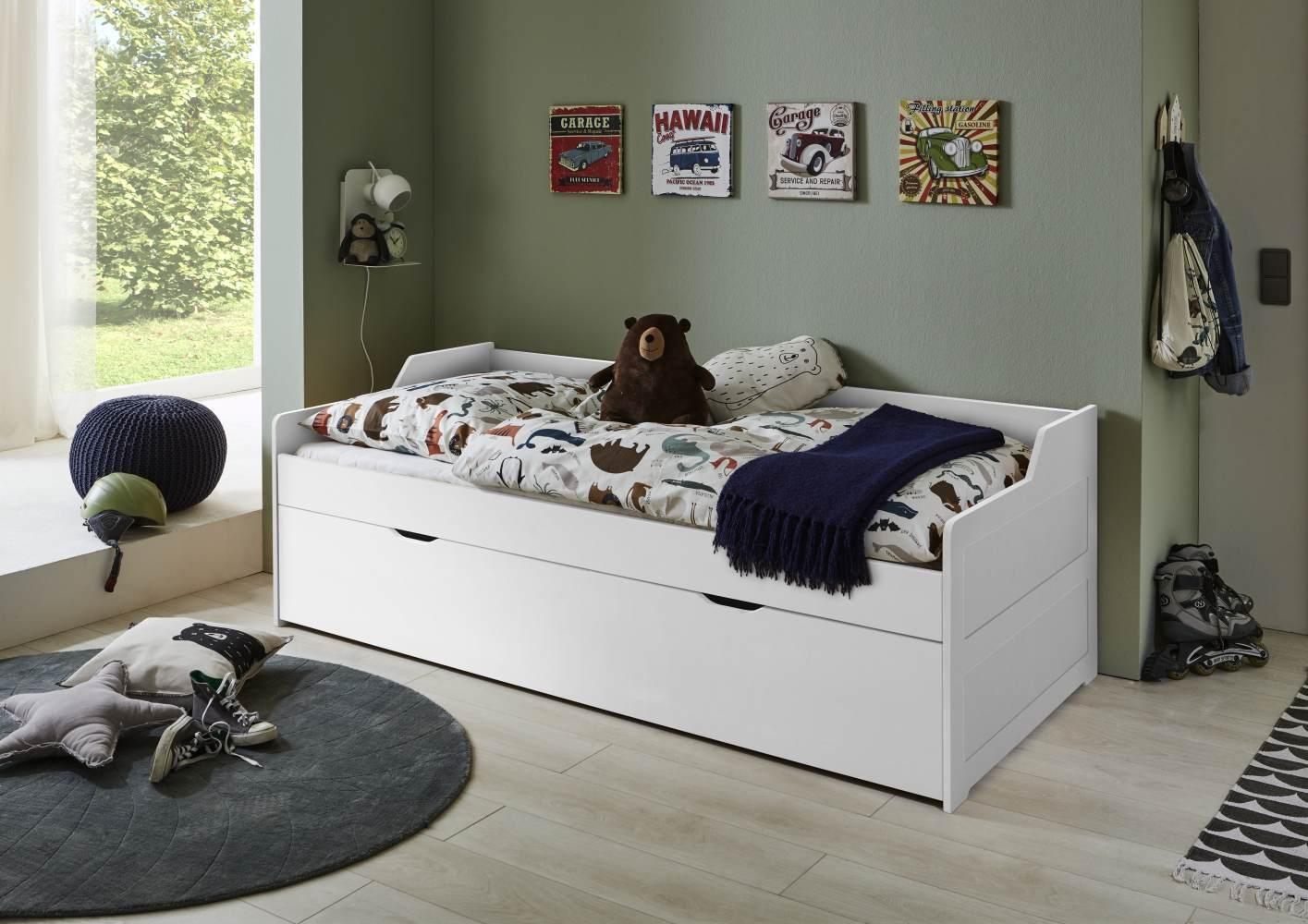 Relita 'LILLY' Kojenbett 90x200 Buche massiv, weiß lackiert, inkl Bettkasten Bild 1