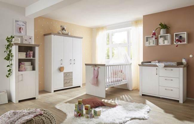 4-tlg. Babyzimmer-Set 'New York' weiß / braun Bild 1