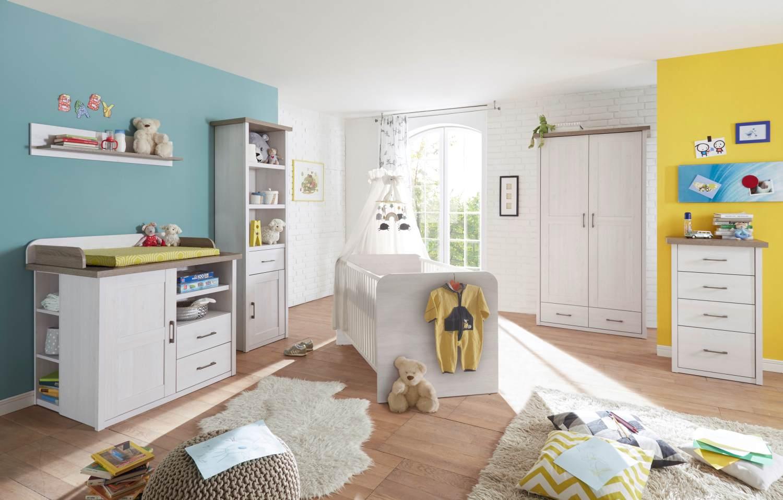 Bega 'Luca' 6-tlg. Babyzimmer-Set, aus Bett 70x140 cm, Wickelkommode inkl. Unterstellregal, 2-trg. Kleiderschrank, Standregal, Kommode und Wandregal Bild 1