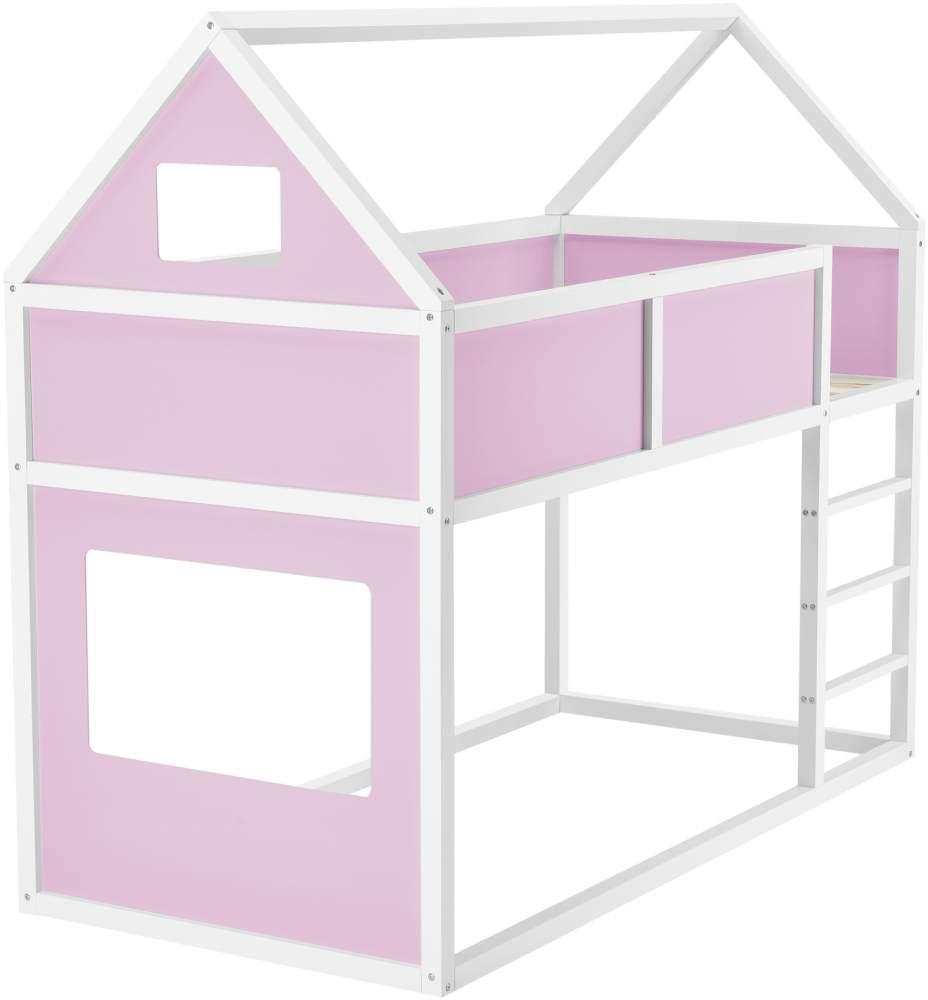 en.casa Hausbett 90x200cm Rosa, inkl. Lattenrost und Matratze Bild 1