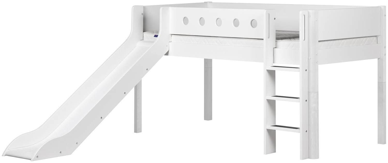Flexa 'White' Halbhochbett mit Rutsche, weiß, gerade Leiter, 90x200cm Bild 1