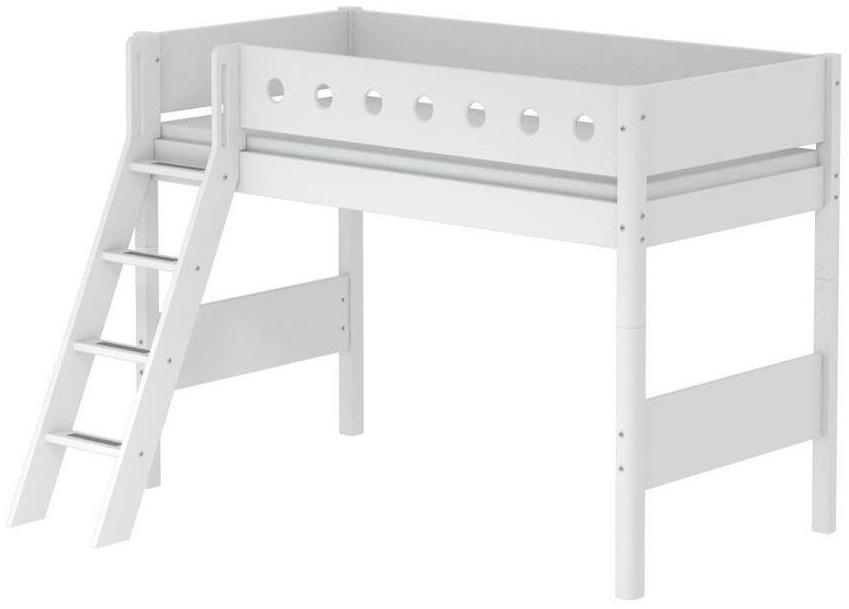 Flexa 'White' Halbhochbett weiß, schräge Leiter, 90x200cm Bild 1