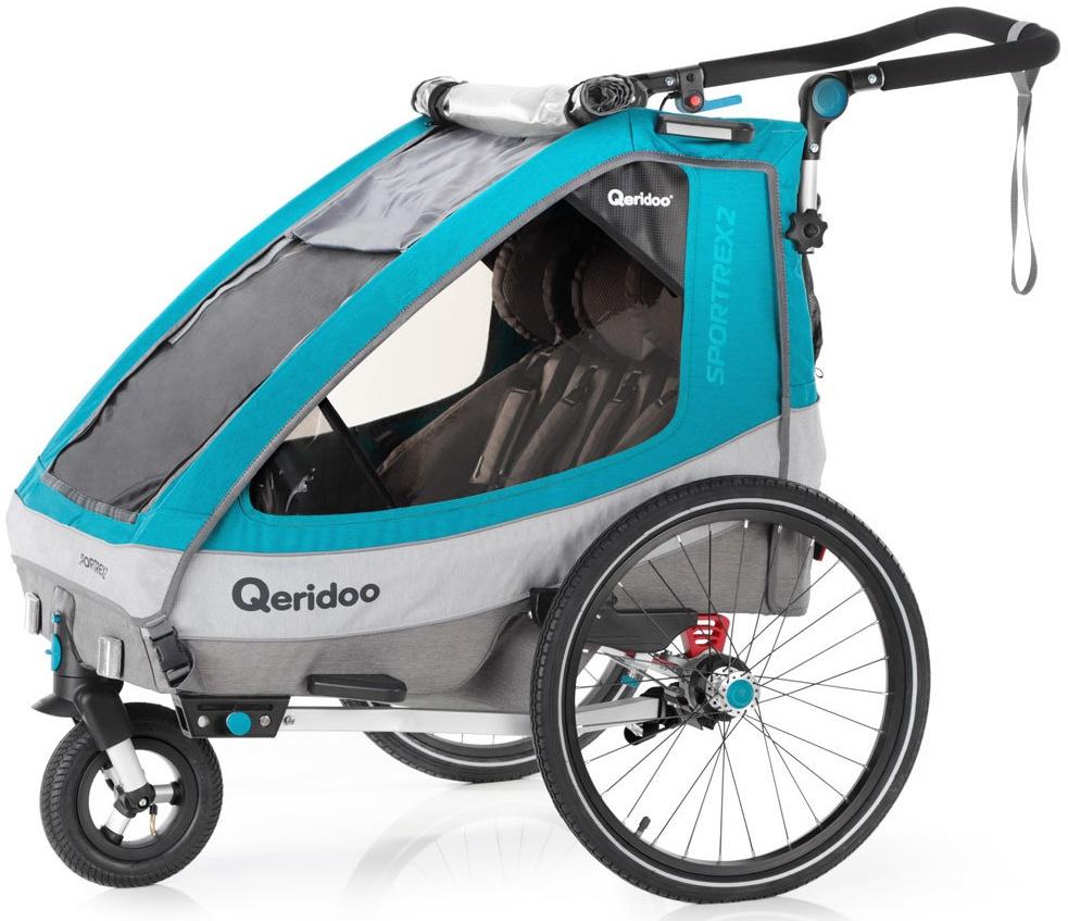 Qeridoo 'Sportrex2' Fahrradanhänger 2020, Petrol, 2-Sitzer, inkl. luftbereiftes Buggyrad Bild 1